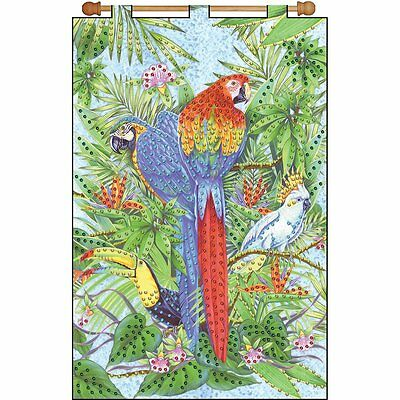 Parrots Jeweled Banner Kit Sequins Beads Toucan Birds New Crafts Sewing