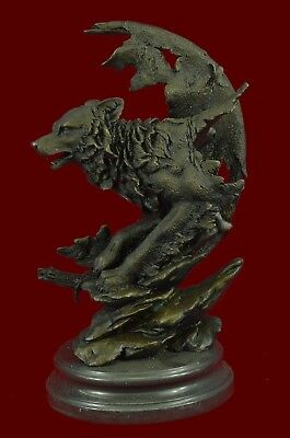 "16""x10"" Bronze Sculpture Celtic Moon Wolf Hot Cast  Statues Figurine Gift ad"