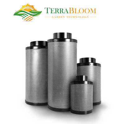 "TerraBloom Carbon Air Filter 6""x16"", 400 CFM, Garden, Hydroponics, Smell Removal"