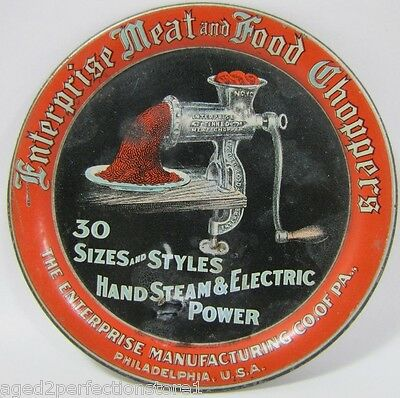 Antique Enterprise Meat and Food Choppers Advertising Tip Tray hand steam & elec