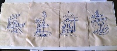 Coffee Time -Machine Embroidered Quilt Blocks -Set of 4- Blue on Calico (Set 2)