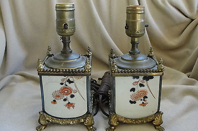 Vintage Enamel painted and brass Boudoir lamps