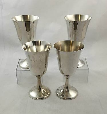 """SET 4 Amston #70 Sterling Silver Water Goblets 6-1/2"""" Excellent Condition"""