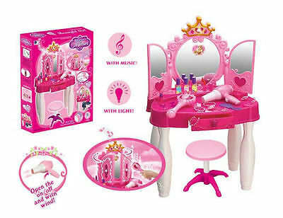 Deluxe Girls Dressing Table Glamour Crown Mirror Play Set Beauty Vanity + Stool