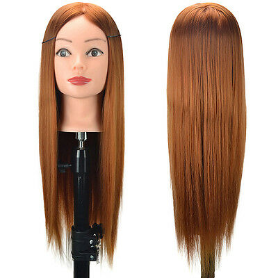 Fake Human Salo Long Hair Practice Head Training Mannequin +Clamp 24""