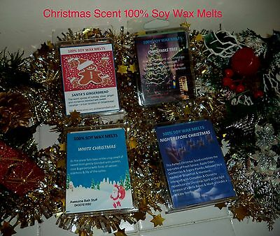 Christmas Fragrance Scented 100% Soy Wax Candle Melts. 4 Wonderful Fragrances