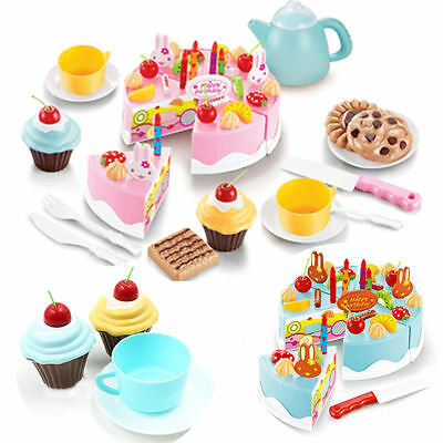 54pcs Pretend Role Play Kitchen Toy Happy Birthday Cake Food Cutting Set Kids gv