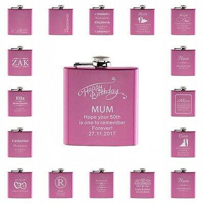 1PCS 6oz Personalised Pink Engraved Hip Flask Set Wedding Gift Bridesmaid Favors