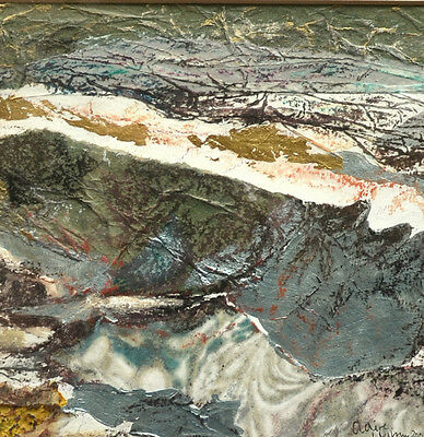 "Modern British Painting Mixed Media ""Rough Sea Branscombe"" Claire Western 2001"
