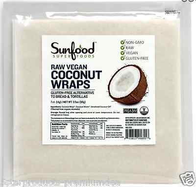 New Sunfood Raw Organic Superfood Coconut Wraps Gluten Free Vegan Nutrient Foods