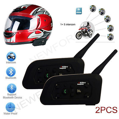 2X BT Bluetooth Wireless Motorcycle Helmet Intercom Headsets for 6 Riders 1200M