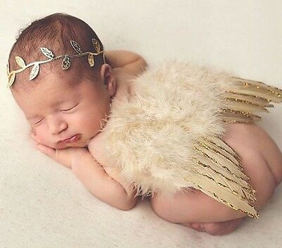Girls Boys Newborn Baby Gold Angel Wings Headband Photo Photography Prop