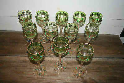 Crystal Gold Applied Grape Gilt Antique Wine Hocks Glasses Bohemian Christmas