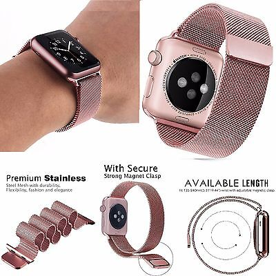 For Apple Watch 42mm ROSE GOLD Milanese Stainless Steel Band Magnetic Lock Strap