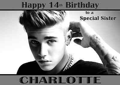 Justin Bieber Personalised A5 Birthday Card Mum Daughter Sister Niece Name Age
