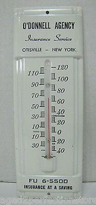 """Old O'Donnell Agency """"FU 6-5500"""" Otisville New York Insurance Co Adv Thermometer"""