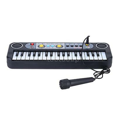37 Keys Mini Electronic Keyboard Gift for Children with Microphone Black X1M8