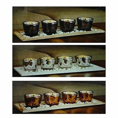 Metallic Candle 4 Candles Set On Wooden Tray Inc Stones Silver Black OR Bronze