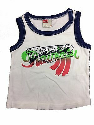 Baby Boys Diesel Vest Tuzzb Sleeveless Top White Age 3-12 Months NEW
