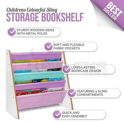 Livivo Childrens Purple Coloured Bright Sling Book Shelf Kids Bedroom Storage