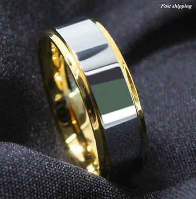 Mens Tungsten Carbide Silver & Gold Band Wedding Engagement Ring Birthday gift