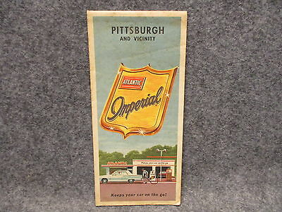 Vintage 1965 Atlantic Imperial Gas Station Pittsburgh & Vicinity Road Map