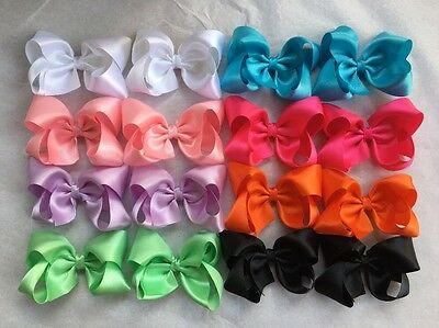 "Lot Of  16 Large 4"" Satin Boutique Hair Bow clips Ladies, Girls, Infant Pink"