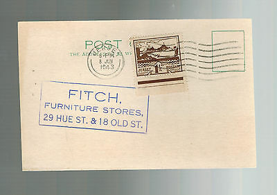 1943 Occupied Jersey Channel Island first day cover Fitch Furniture postcard fdc