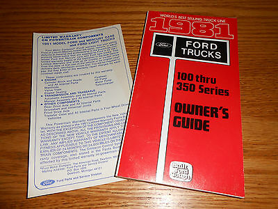 1981 Ford F-100 F-250 F-350 Pickup Truck Owner's Manual Guide + 81 Warranty Card