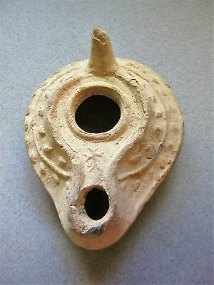 A Byzantine Pottery Oil Lamp with Cross, 6th to Early 7th Century AD