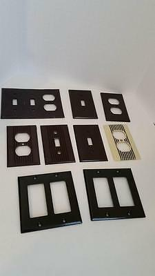 9 Mid-Century Outlet Switchplate Covers Brown Black Ivory Bakelite Ribbed MCM