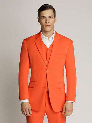 Men's Orange Two-Button Microfibre Coloured Suit By Ambassador