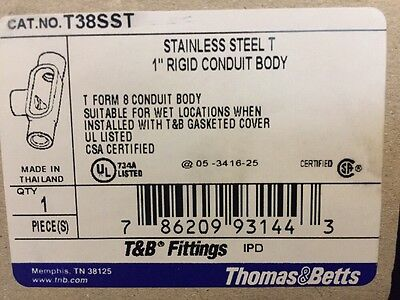 "NEW! Thomas & Betts T38SST Stainless Steel 1"" Rigid Conduit Body"
