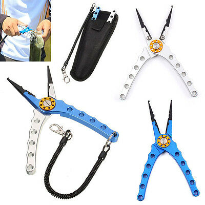 """Aluminum Fishing Plier Saltwater Braid Cutter Hook Remover Tackle 7.9"""" Stainless"""