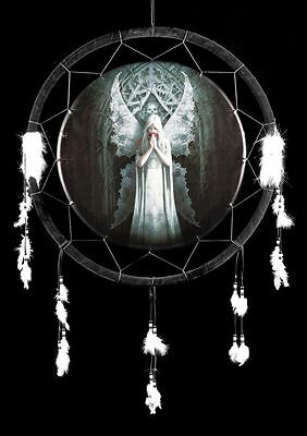 Large Dream Catcher Gothic Angel - Only Love Remains - Anne Stokes Fantasy
