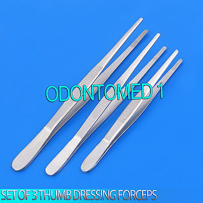 "Set Of 3 Assorted Thumb Dressing Dissecting Forceps Tweezers Serrated 6"", 8"",10"""