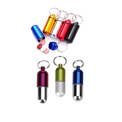 Waterproof Pill Key Fob Box Aluminum Storage Case Container Keychain Keyring