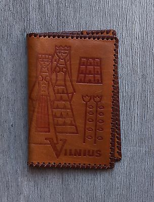 Vintage Leather Billfold , Genuine Embossed Tan Leather , Lithuanian 70's
