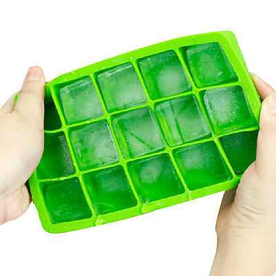15 Cavity Large Ice Cube Tray Pudding Jelly Maker Mold Square Mould Silicone DIY