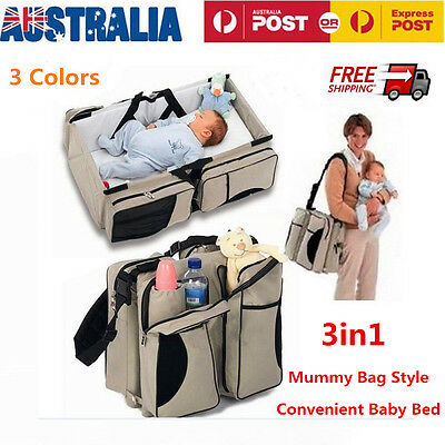 3in1 Portable Baby Travel Bed Nappy Shoulder Bag Infant Crib Diaper Changing Mat