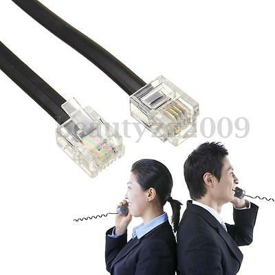 Telephone Line Cord Cable Wire 6P4C RJ11 DSL Modem Fax Phone To Wall Black 0.6M