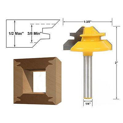 """1pc 45° Degree 1/2"""" Stock 1/4'' Shank Small Lock Miter Router Bit For Wood Work"""