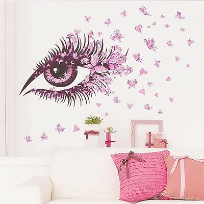 Butterfly Heart Pink Eyes Home Decor Wall Stickers Girls Room Decal Mural Flower