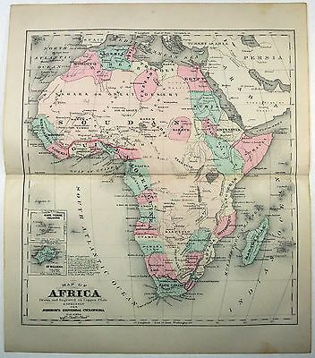 Original 1875 Copper-Plate Map of Africa by A. J. Johnson