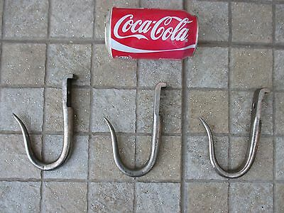 Antique or Vintage Wrought Blacksmith Iron Wall Set Three Hook Rustic Farm Tool