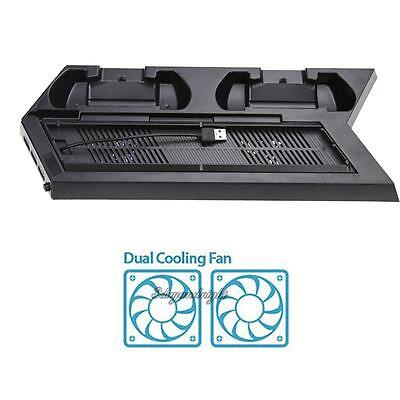 For Sony PS4/PS4 Slim Console Vertical Stand Cooling Fan w/Dual Charging Station