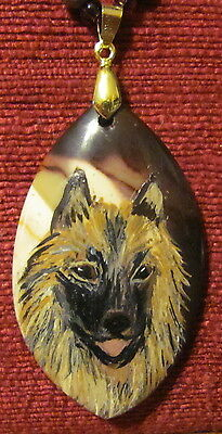 Belgian Tervuren hand painted on marquise cut Onyx Agate pendant/bead/necklace