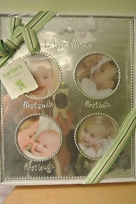 Carters New Baby Nursery Photo Picture Frame Smiley Happy 4 Slots Silver Toned