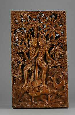 Antique Balinese Carved  Wood Panel 20th c Indonesian Bali