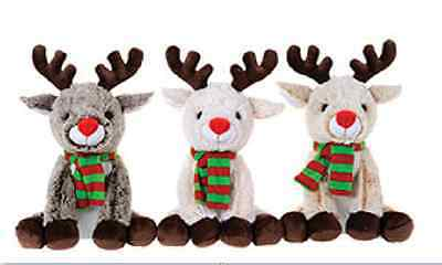 "New 10"" Christmas Reindeers Plush Soft Toy Kids Cute Xmas Gift Cuddly Reindeer"